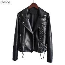 2019 lxunyi new 2018 pu leather jacket with zipper fashion lace up short slim washing casual pu coat faux leather jackets women pink from xinpiao