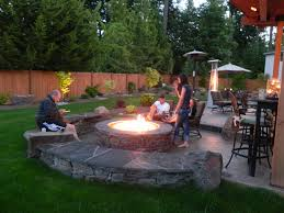 outdoor fire pit patio ideas in ground backyard
