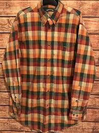orvis mens casual long sleeve on down shirt size large