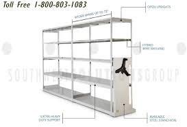 extra wide hybrid wire rack high density low profile wheel rail 4 post shelves