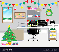 Merry Christmas Decoration In The Office Vector Image