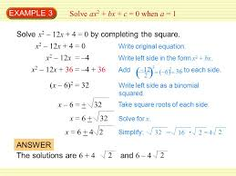 example 3 solve ax2 bx c 0 when a 1