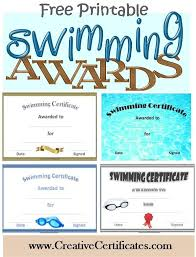Free Printable Swimming Certificates And Awards Crafts
