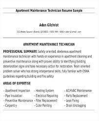 Apartment Maintenance Technician Resume Mechanic Samples Facilities