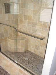... burnished bronze sliding shower door and bench seat ...
