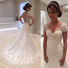 Simple Elegant Simple And Elegant Lace Wedding Dress With Short Sleeves