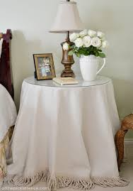 no sew fringed drop cloth table skirt at the picket fence