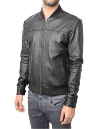 er style collarless satin lined inter leather jacket