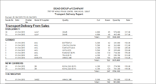 Dilivery Report Transport Delivery Report