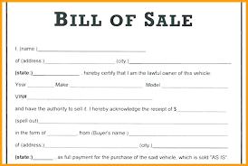 Standard Bill Of Sale For Boat Bill Of Sale Template Arizona