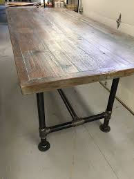 Image Coffee Tables Reclaimed Wood Table 30 70 With 34 Pipe Base Counter Height Base Weathered Grey 3rd Photo Reclaimed Wood From Nj And Pa Barns Wood Is Sanded And Sealed What We Make Reclaimed Wood Table 30 70 With 34 Pipe Base Counter Height Base