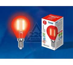 <b>Лампа</b> светодиодная <b>Uniel LED</b>-<b>G45</b>-<b>5W</b>/<b>RED</b>/<b>E14</b> - цена, фото ...