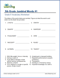 Vocab Building Worksheets Grade 5 Vocabulary Worksheets Printable And Organized By
