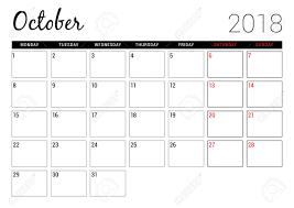 October 2018 Printable Calendar Planner Design Template Week