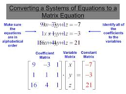 converting a systems of equations to a matrix equation