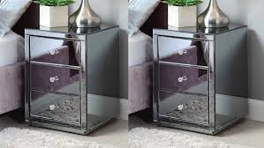 Mirrored Furniture Pair Vegas Smoke Mirrored Bedside Table Chest Mirror Furniture