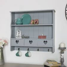 grey wall shelving unit vintage french