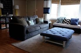 image of tufted ottoman coffee table blue