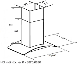Máy Hút Mùi KOCHER K8370| Mua thiết bị nhà bếp nhập khẩu ✅Chính hãng ✅Giá  rẻ nhất Hà Nội
