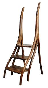 Wooden step stool with handle Stool Chair Artful Home Walnut Library Steps By David N Ebner wood Stepstool Artful Home