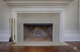 misty blue limestone fireplace surround and hearth