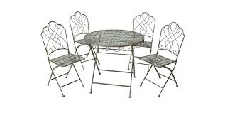 antique colour metal garden table and 4 chairs set