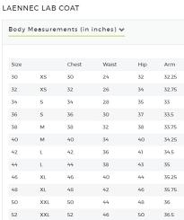 Unisex Lab Coat Size Chart Mens Medelita Classic Fit Lab Coats