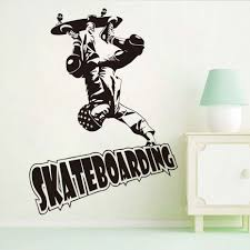 most popular cool skateboard sports man art wall sticker decals design of skateboard wall stickers