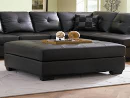 Elegant Image Of: Black Leather Ottoman Coffee Table Awesome Design