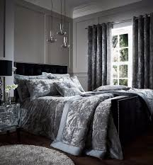 catherine lansfield crushed velvet luxury silver duvet cover bedding set