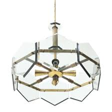 Glass And Brass Pendant Light Pendant Lamp In Brass Glass By Gino Paroldo 1960s
