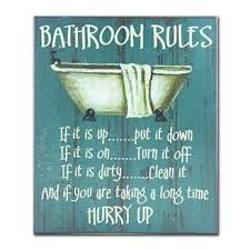 Bathroom Rules Textual Art