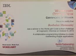 recevied first prize for ibm worklight code a thon project