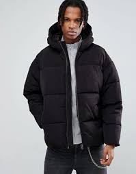 Men's Quilted Jackets   Quilted & Padded Jackets   ASOS & ASOS Puffer With Hood In Black Adamdwight.com