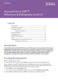 Microsoft Word 2007 References Bibliography Pages 1 6 Text