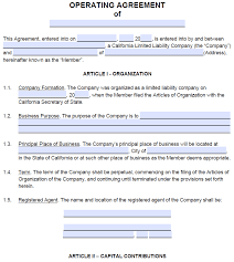 Other types of separation agreement templates. Free California Llc Operating Agreement Template Pdf Word Startingyourbusiness Com