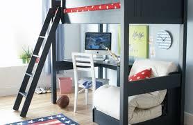 simple kids bedroom black desk bunk bed and bed above the desk image