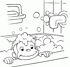 extraordinary curious george coloring pages take a bath in bathroom x paper crafts cool curious george