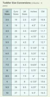 Bullboxer Size Chart Toddler Shoe Size Conversion Chart 9 Months Through 4 Years