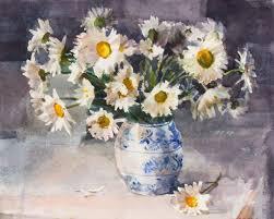 daisies in dutch vase still life watercolor 10x12 200