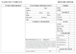 Automotive Work Order Template Parts List Auto Repair Beautiful