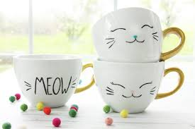 diy painted dishwasher safe cat mugs