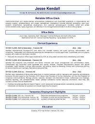 Example Office Clerk Resume Free Sample