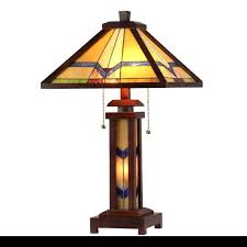 mission table lamp 2 light lit base tiffany vintage style