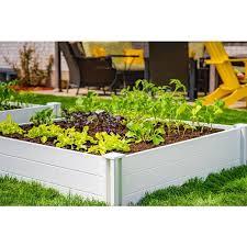 white vinyl plastic raised garden bed