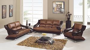 ... Leather Match Sofa in Tan and Brown - 1