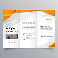 abstract orange trifold brochure design business template free vector