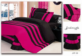 fashion 4pcs black and rose red home textile prue color bedding sets cotton stripes duvet cover bed linen queen size 20 design in bedding sets from home