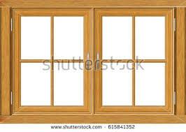 Old grunge wooden window frame illustration on white background.