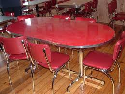 Retro Red Kitchen Vintage Kitchen Tables Round Wooden Kitchen Tables And Chairs5pcs
